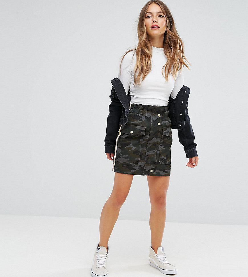 ASOS PETITE Puffer Camo Mini Skirt with Side Stripe Detail - Green