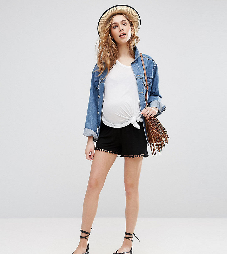 ASOS Maternity Shorts with Pom Pom Hem - Black