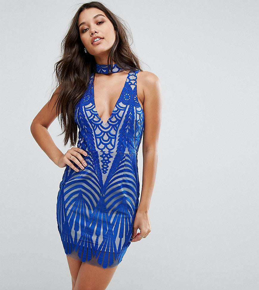 Love Triangle Allover Lace Mini Dress With Choker Detail - Cobalt