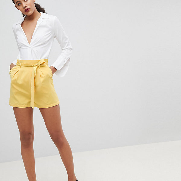 Fashion Union Tall High Waist Shorts Co-Ord - Yellow