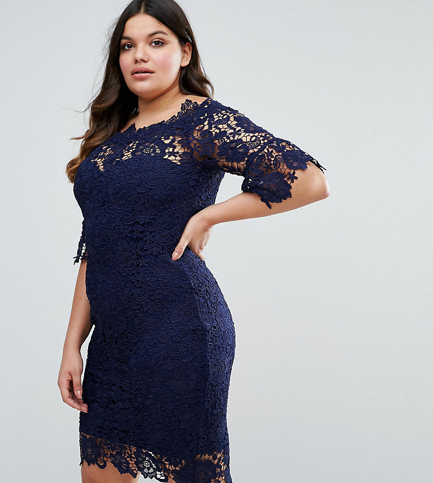 Paper Dolls Plus All Over Lace Bardot Dress - Navy