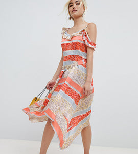 Lost Ink Petite Midi Dress With Tie Waist In Tropical Mix And Match Print - Orange multi