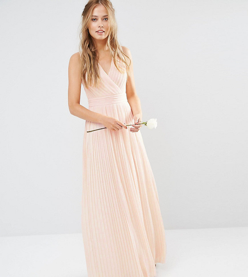 TFNC WEDDING Pleated Wrap Maxi Dress - Nude