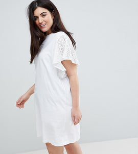 ASOS CURVE T-Shirt Dress With Broderie Sleeves - White