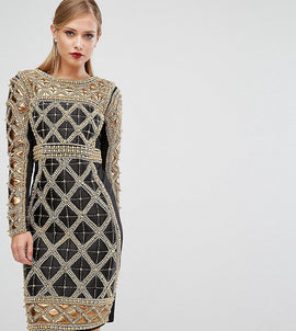 A Star Is Born Embellished Midi Dress With Metallic Quilted Detail - Black/gold