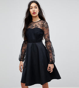 Y.A.S Tall Lace Top Balloon Sleeve Dress - Black