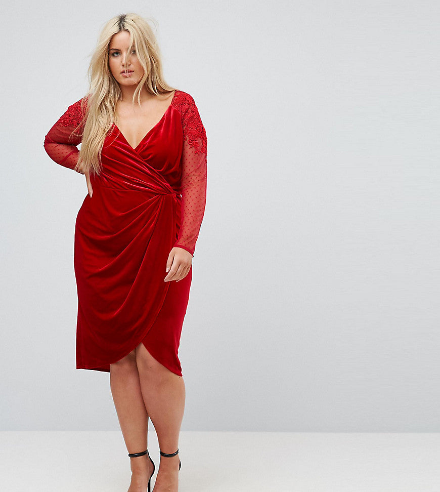 Little Mistress Plus Allover Velvet Wrap Midi Dress With Lace Applique Sleeve Detail - Red