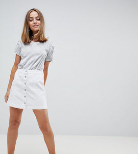 New Look Petite Denim Button Down Skirt - White
