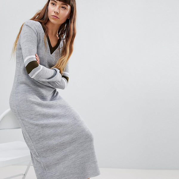 Daisy Street Jumper Dress With Contrast Stripe Sleeve - Grey