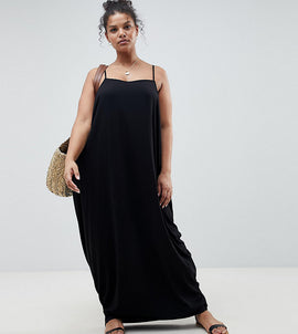 ASOS DESIGN Curve tab back drape hareem maxi dress - Black