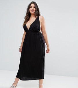 ASOS CURVE Halter Maxi Dress - Black