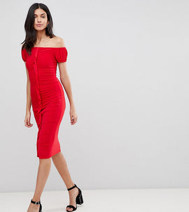ASOS DESIGN Tall ruffle front bodycon Midi dress - Red
