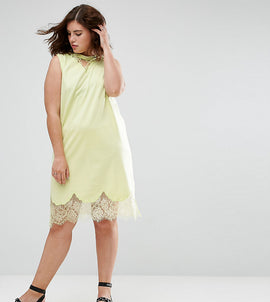 ASOS CURVE Sleeveless T-Shirt Dress with Lace Inserts - Fluro yellow