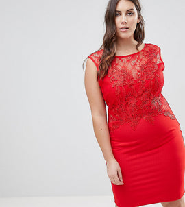 Lipsy Curve Lace Applique Bodycon Dress - Red