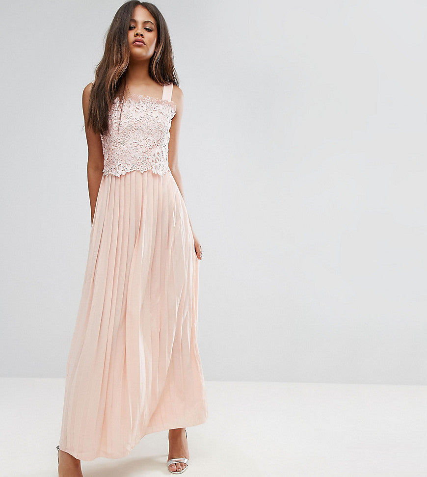 Little Mistress Tall Premium Lace Top Maxi Dress With Pleated Skirt - Peach