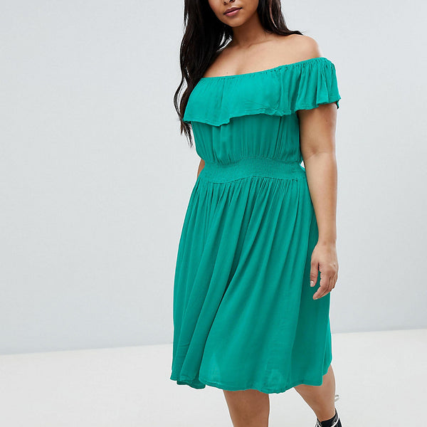 Brave Soul Plus Petal Midi Dress with Frill Bardot - Emerald
