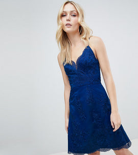 Chi Chi London Tall Premium Lace Mini Dress - Navy