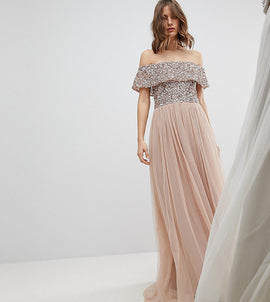Maya Bardot Sequin Top Tulle Detail Dress With High Low Hem - Taupe blush