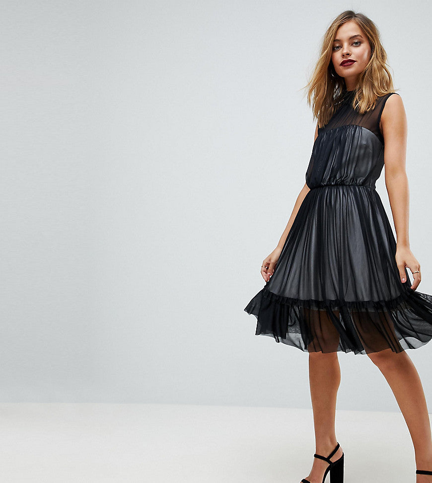 John Zack Petite High Neck Tulle Midi Skater Dress With Contrast Lining - Black