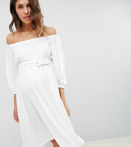 ASOS DESIGN Maternity bardot midi dress with belt - White