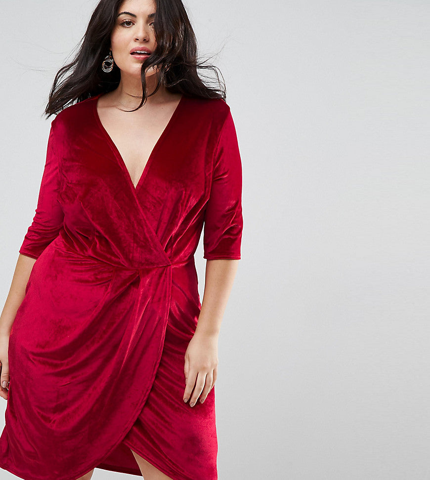 Club L Plus Velour Wrap Front Dress - Bright red