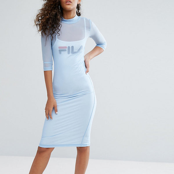 Fila Tall Mesh Overlay Midi Bodycon Dress With Front Logo Detail - Pastel blue