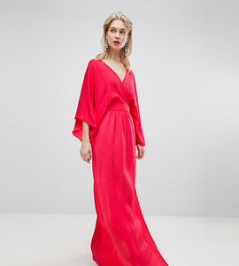 Flounce London wrap front kimono maxi dress with thigh split - Bright coral