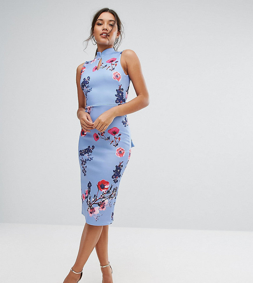 True Violet High Neck Pencil Dress with Mandarin Collar and Bow Back - Blue