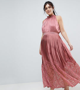 Little Mistress Plus Ruffle High Neck Maxi Dress With Lace Pleated Skirt - Rose