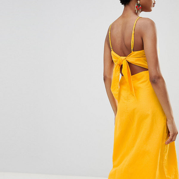 Vero Moda Tall Midi Dress With Cut Out Back - Yellow
