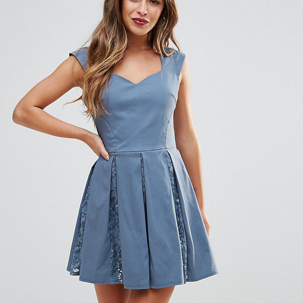 City Goddess Petite Skater Mini Dress With Sequin Pleat Detail - Grey