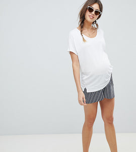 ASOS DESIGN Maternity culotte shorts in easy stripe - Navy/white