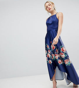 Chi Chi London Tall High Low Midi Dress with Placement Floral Print - Navy mutli