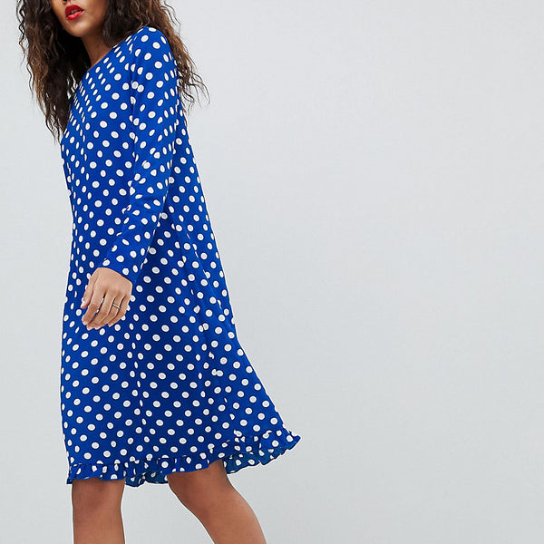 Y.A.S Tall Dotti Polka Dot Dress - Navy polka dot