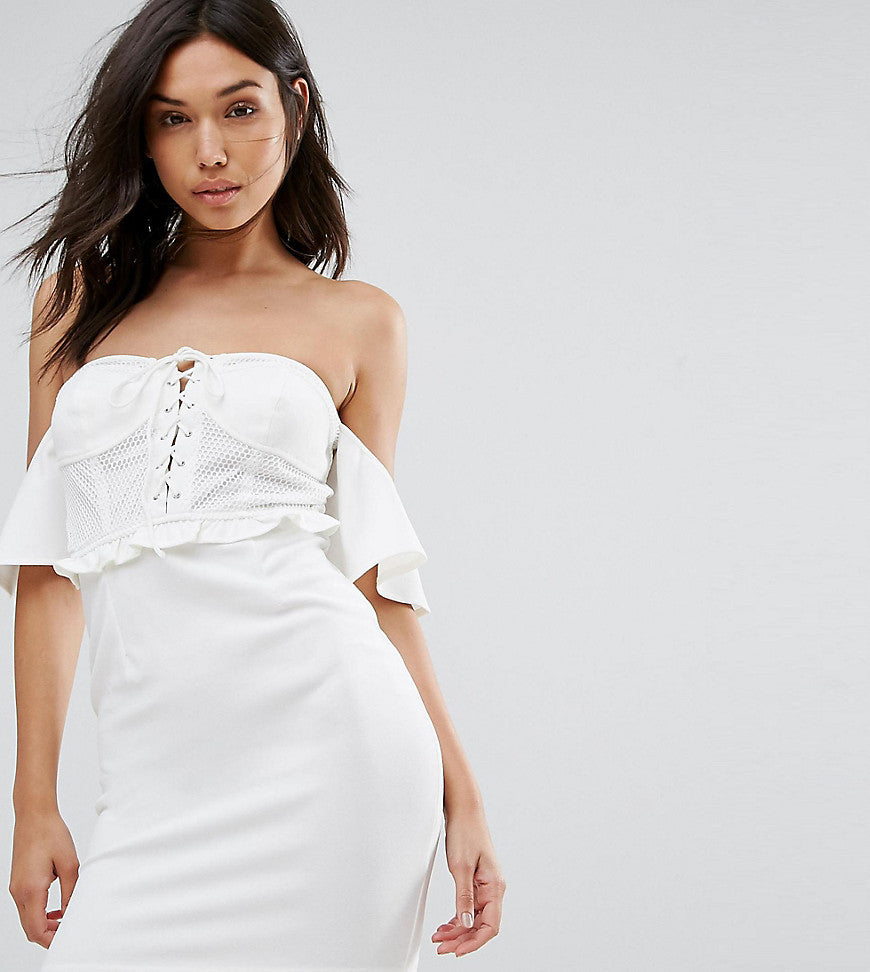 NaaNaa Off Shoulder Corset Detail Mini Dress - White