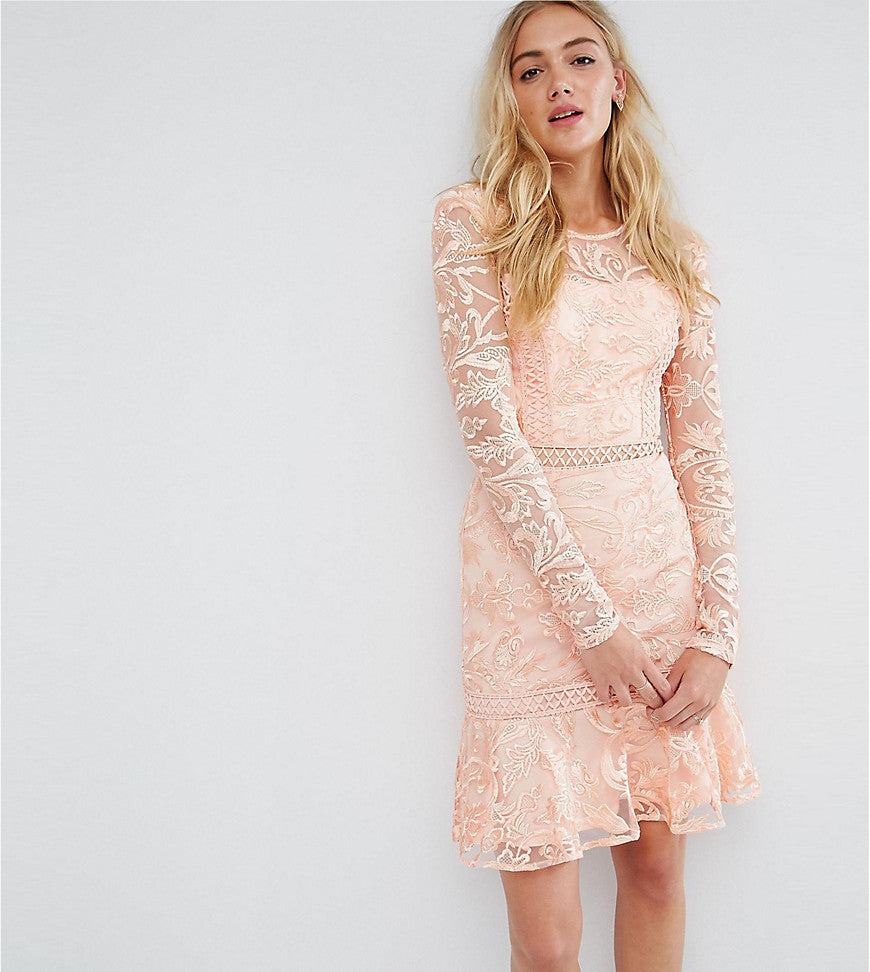 True Decadence Tall Allover Premium Lace Skater Dress With Fluted Hem - Peach