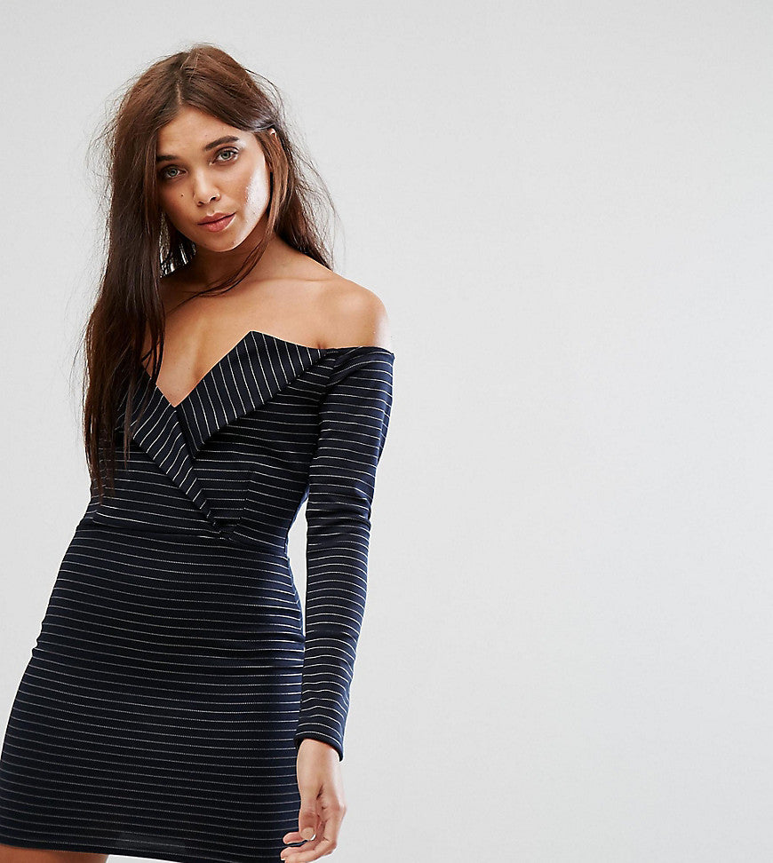 Missguided Bardot Tux Mini Dress - Navy