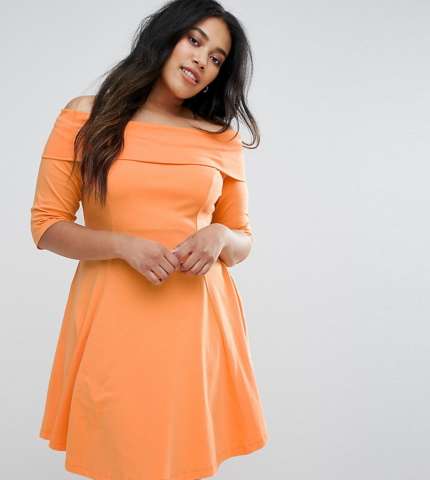 ASOS CURVE Deep Bardot Mini Skater Dress with 3/4 Length Sleeve - Papaya