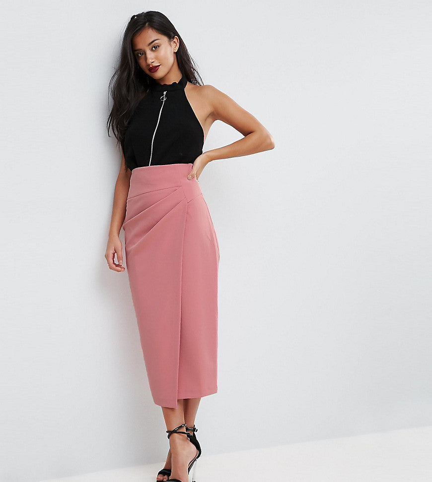 ASOS PETITE Tailored Midaxi Skirt With Rouched Pleat Detail - Pink
