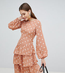 Fashion Union Tall Open Back Midi Dress With Tiered Skirt In Vintage Spot - Apricot spot