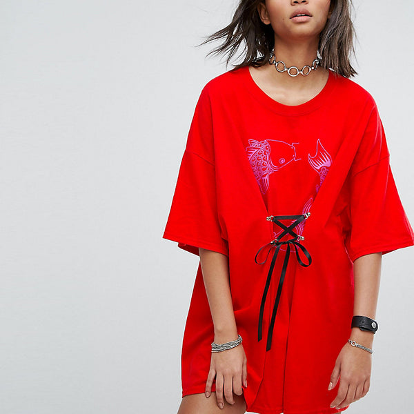 Milk It Vintage T-Shirt Dress With Fish Print And Lace Up Front - Red