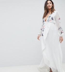 Hope & Ivy Maternity Wrap Front High Low Maxi Dress With Floral Embroidery - White