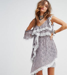 Sacred Hawk Festival Cold Shoulder Slip Dress With Extreme Ruffle In Lace - Grey