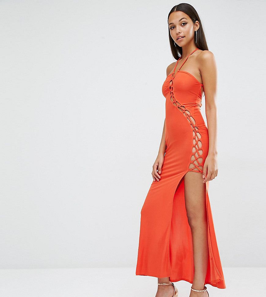 Club L Sexy Dare Maxi Dress with Lattice Detail - Cherry tomato
