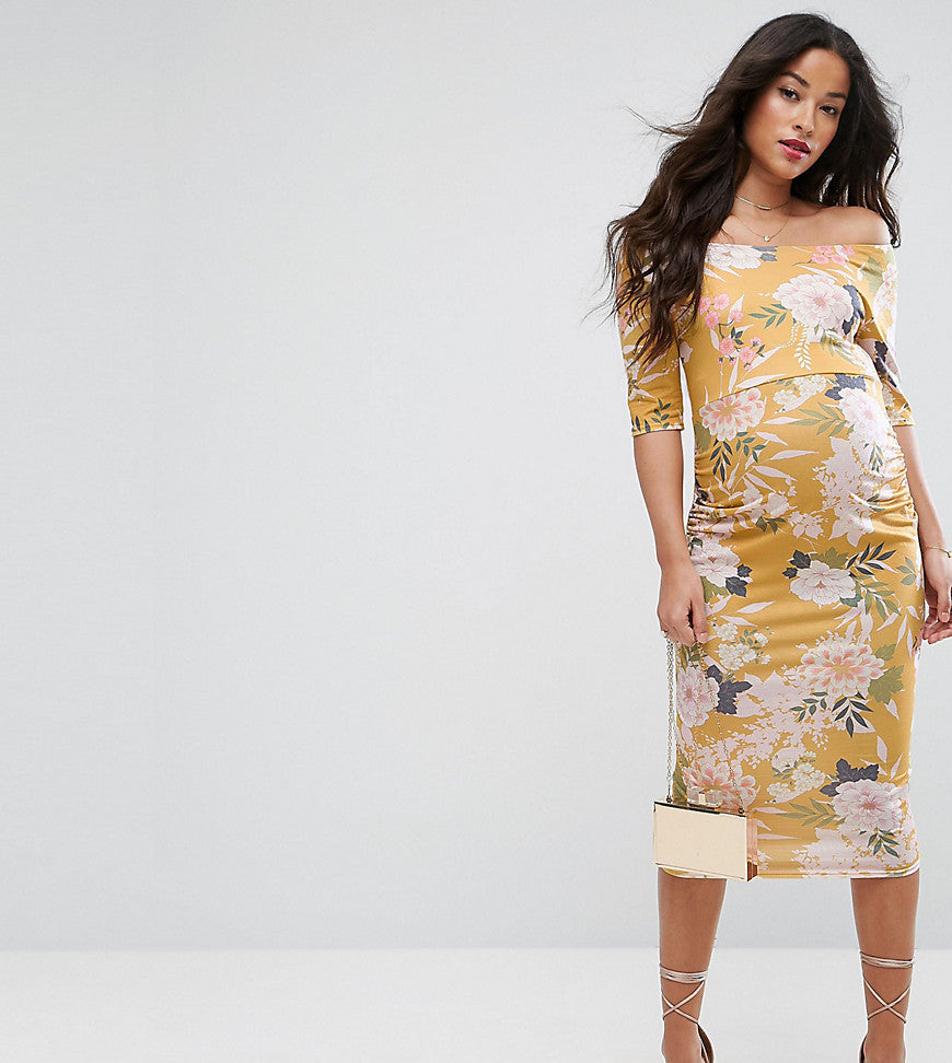 ASOS Maternity TALL Bardot Dress with Half Sleeve in Yellow Base Floral Print - Yellow base