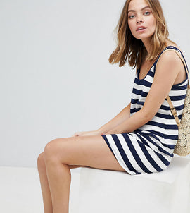 ASOS DESIGN Petite ultimate mini vest dress in stripe - Navy/white