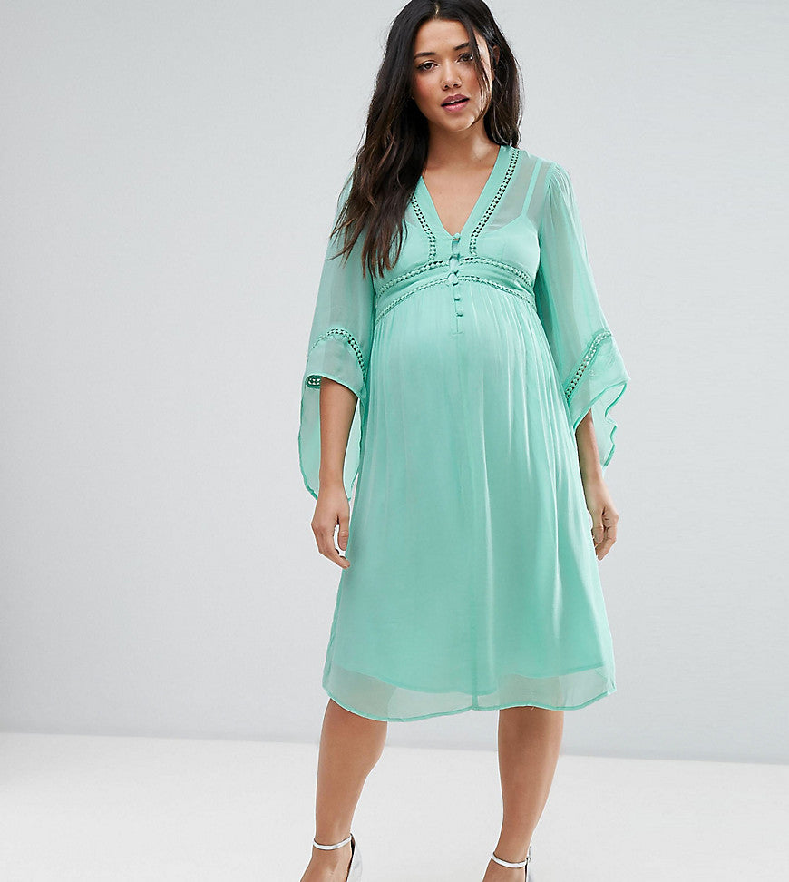 ASOS Maternity Lace Up Dress - Turquoise
