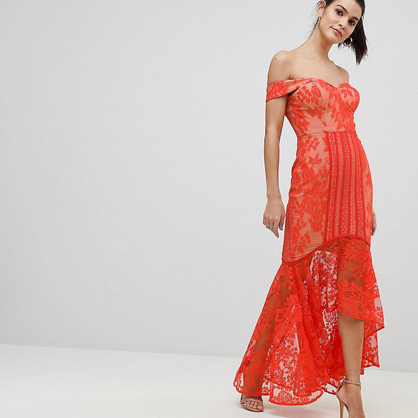 Jarlo All Over Lace Off Shoulder Fishtail Midi Dress - Tomato orange