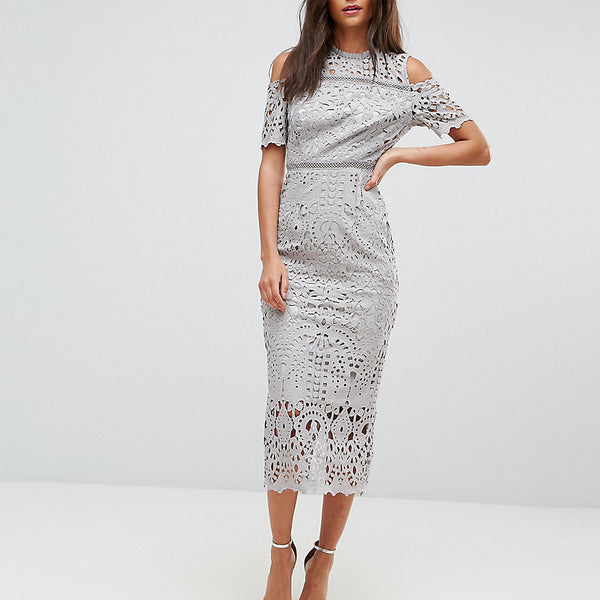 True Decadence Tall Premium Cutwork Lace Cold Shoulder Maxi Dress - Grey