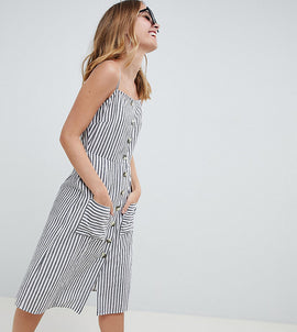 ASOS DESIGN Petite stripe button through linen midi sundress - Multi